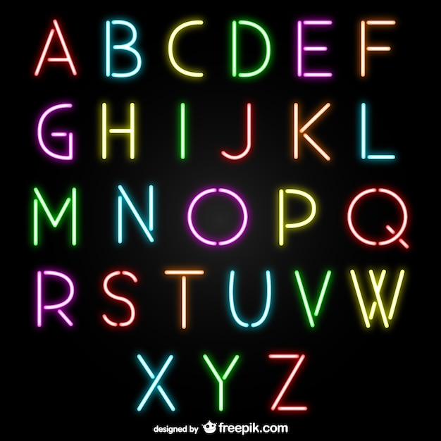 neon alphabet letters vector free download With neon letters