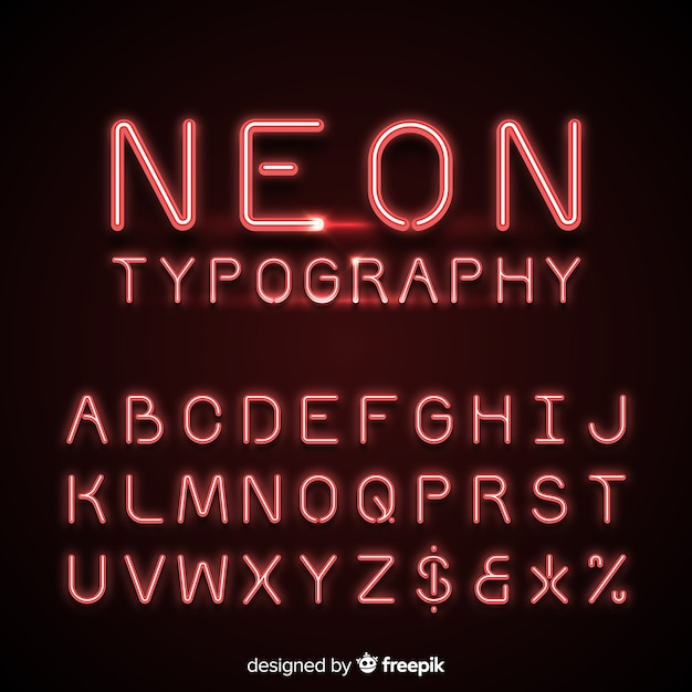 Neon alphabet in red color Free Vector