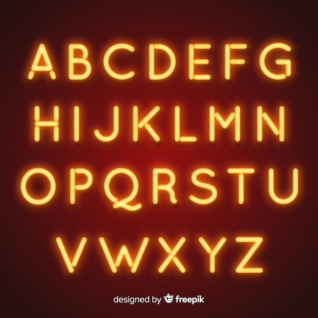 Neon alphabet in retro style Free Vector