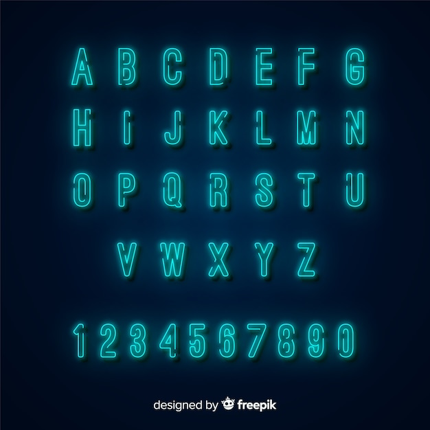 Neon alphabet template flat design Free Vector