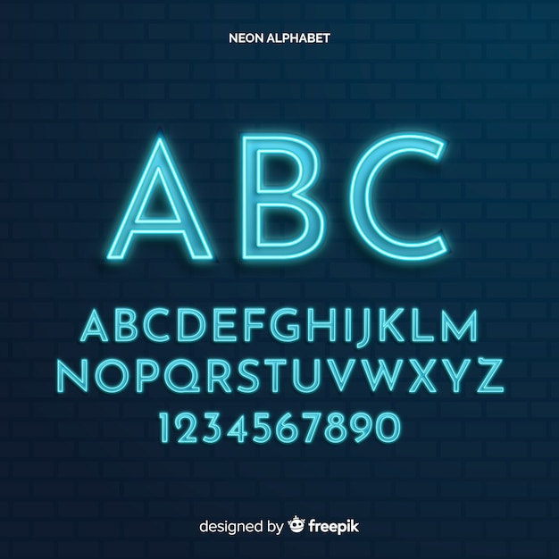 Neon alphabet template Free Vector