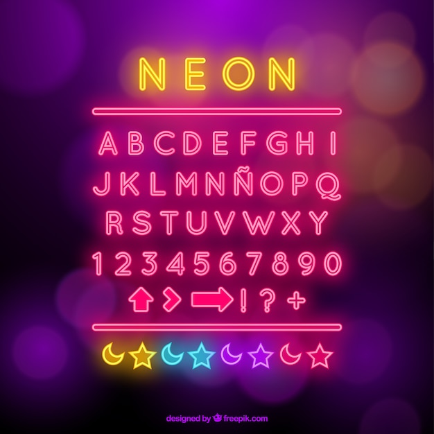 Neon alphabet with symbols Free Vector