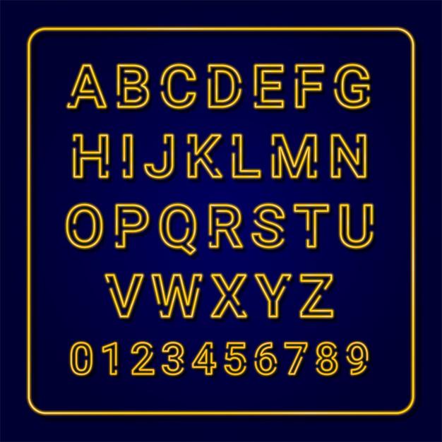 Neon alphabet: yellow, orange, green, blue. set of colorful fonts. capital letter. Premium Vector