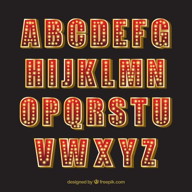 Neon alphabet Free Vector
