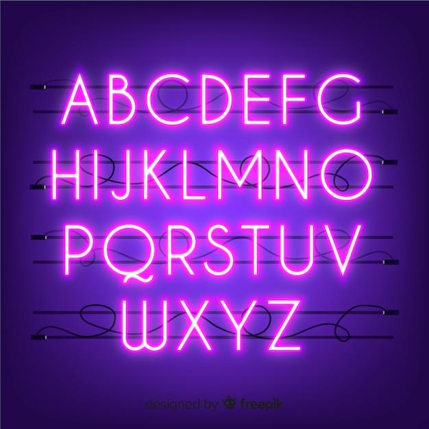 Неоновый алфавит Бесплатные векторы