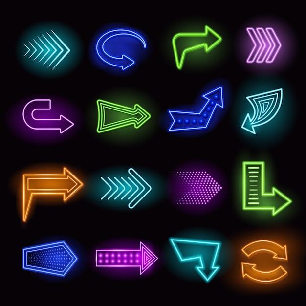 Neon arrows set Free Vector