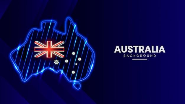Неоновая карта австралии Premium векторы