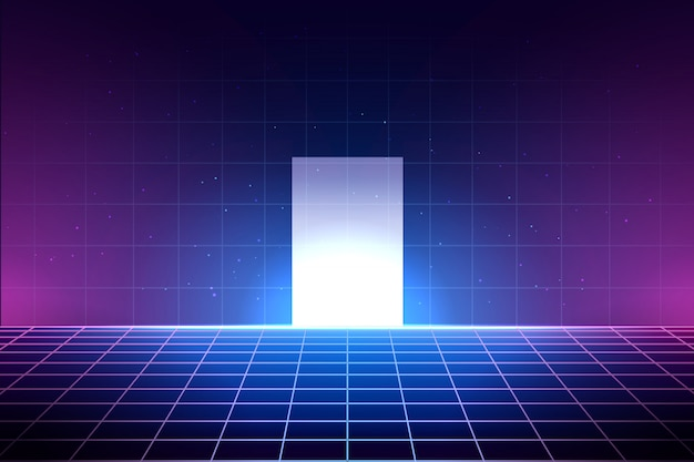 Neon Background In 80s Style Laser Grid Illustration With Floor