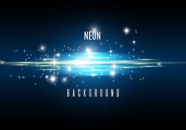青い光の効果とネオンの背景。 Premiumベクター