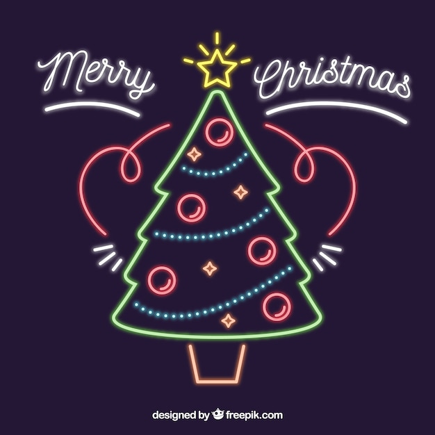 Neon background with christmas tree
