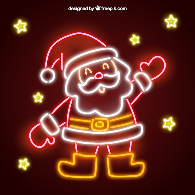 Neon background with cute santa claus