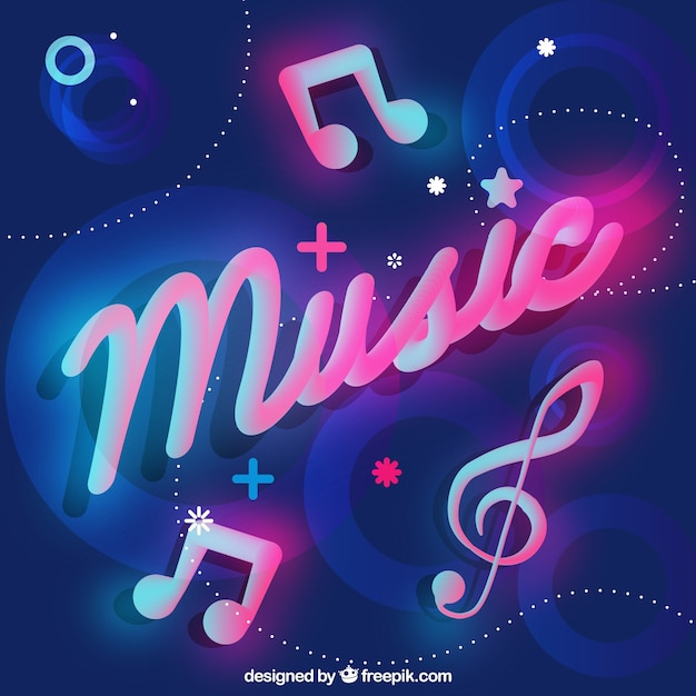neon background with music word vector free download