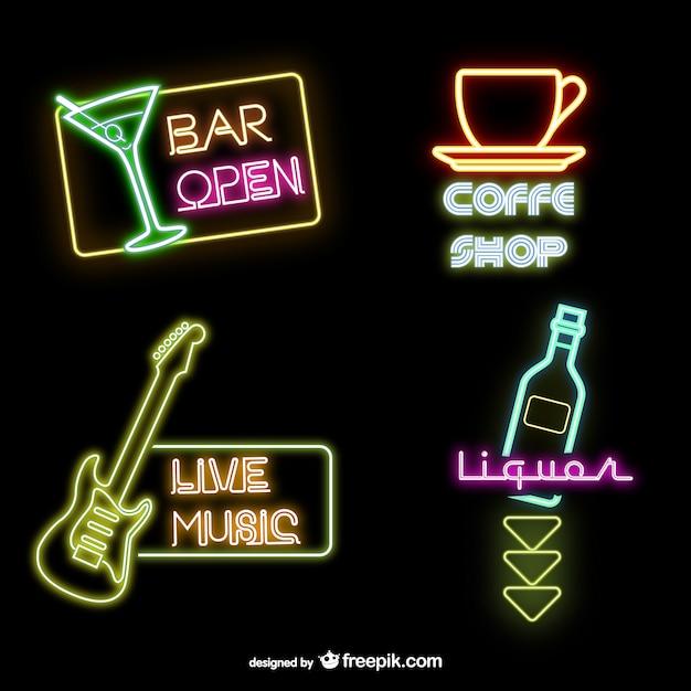 neon bar signs vector free download. Black Bedroom Furniture Sets. Home Design Ideas