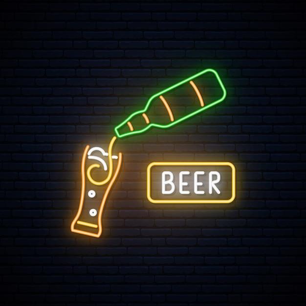 Neon beer sign. Premium Vector