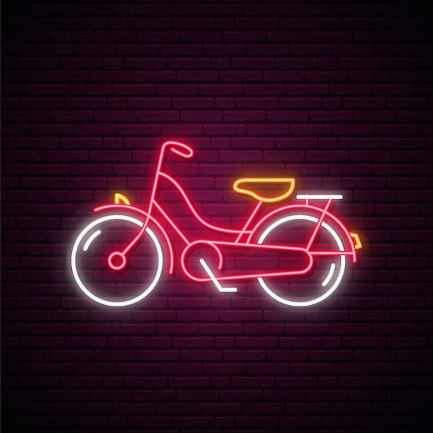 ネオンバイクの標識です。 Premiumベクター