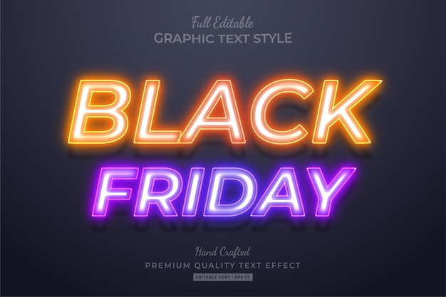Neon black friday editable text style effect Premium Vector
