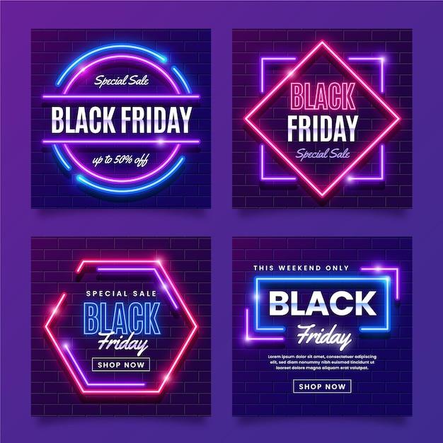 Неоновая черная пятница в instagram Бесплатные векторы