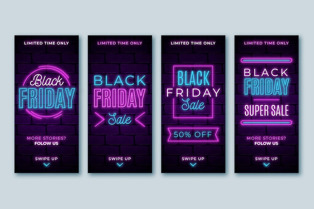 Storie di instagram del venerdì nero al neon Vettore gratuito