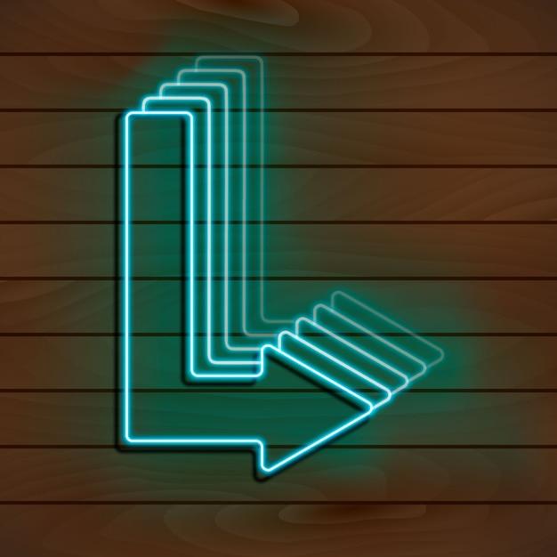 Neon blue arrow on a wooden wall. Premium Vector