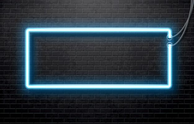 Neon blue banner isolated on black brick wall Premium Vector