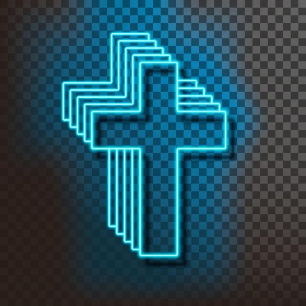 Neon blue christian cross on blue Premium Vector