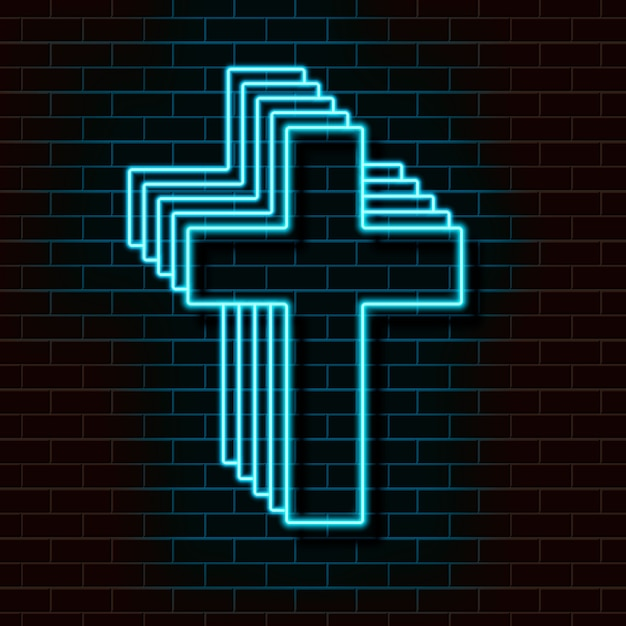 Neon blue christian cross on a brick wall. Premium Vector