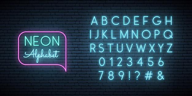 Neon blue font. Premium Vector