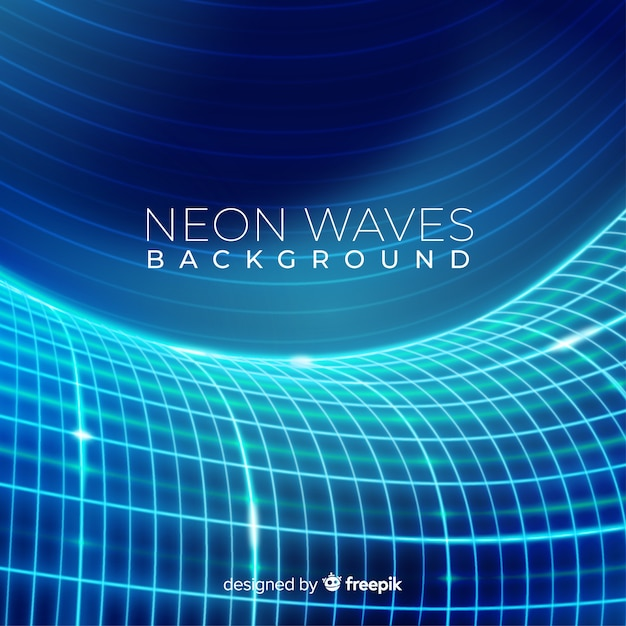 Neon blue futuristic waves background Free Vector