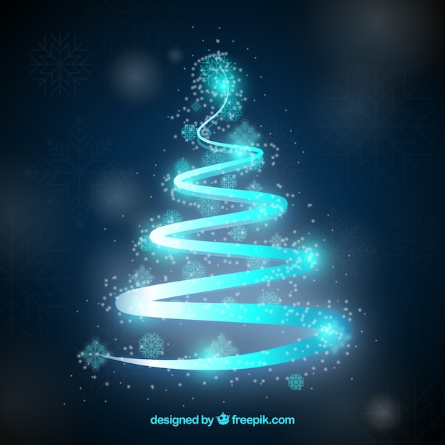 Neon blue ribbon in a shape of a christmas tree