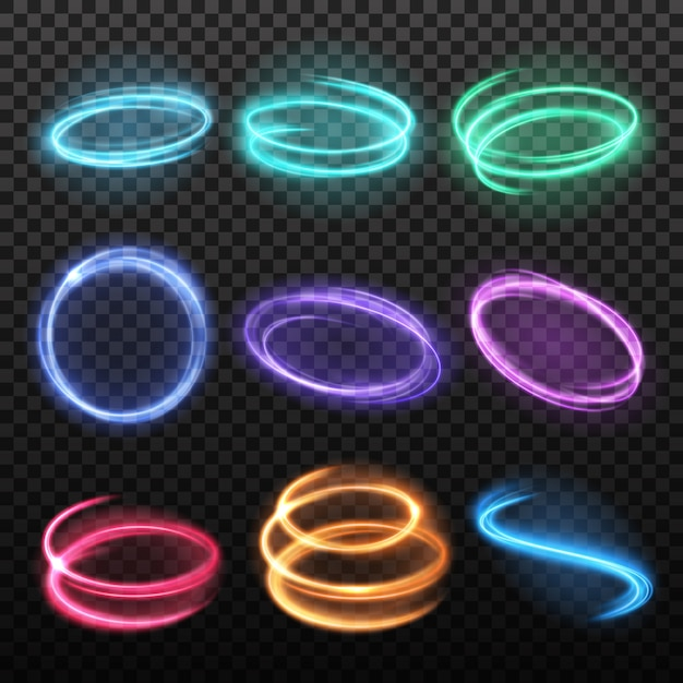 Neon blurry motion circles set Free Vector