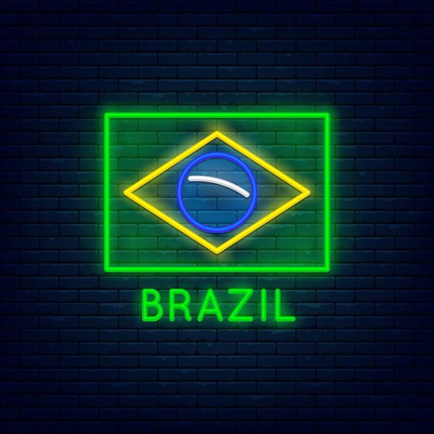 Neon brazil minimalist flag at brick wall Premium Vector