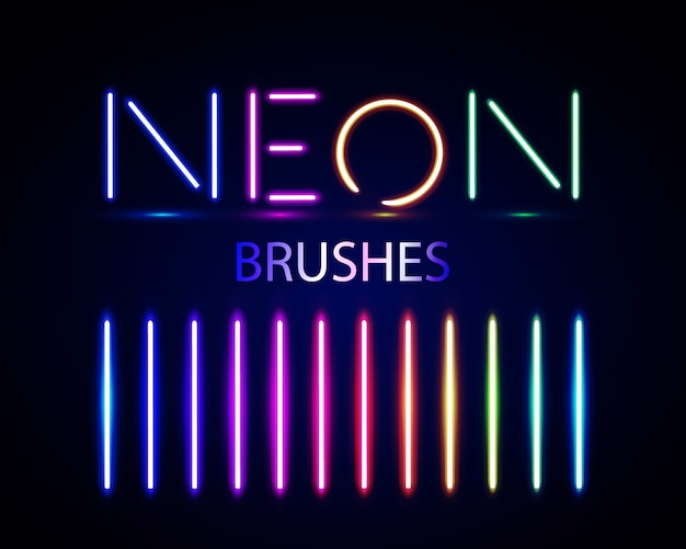 Neon brushes set. set of colorful light objects on dark background. Premium Vector