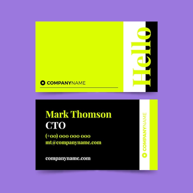 Neon business card template Free Vector