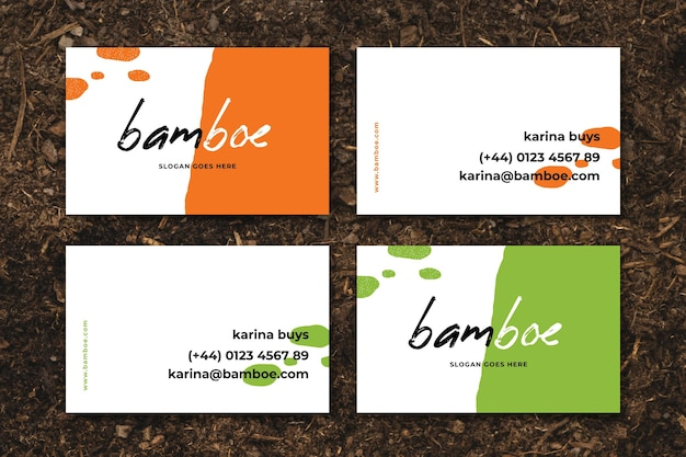 Neon business cards concept Free Vector