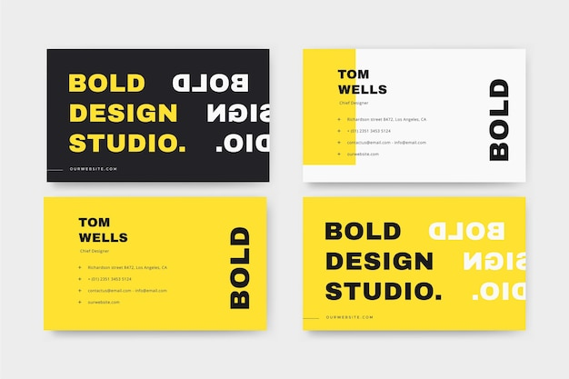 Neon business cards Free Vector