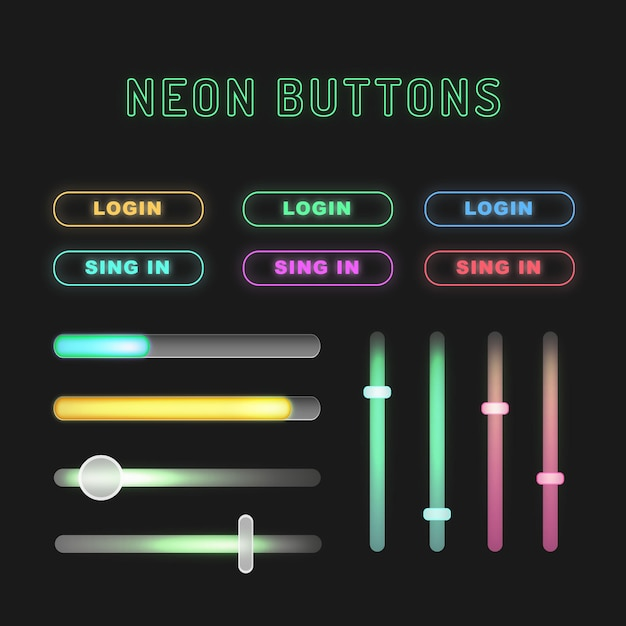 Neon buttons Free Vector