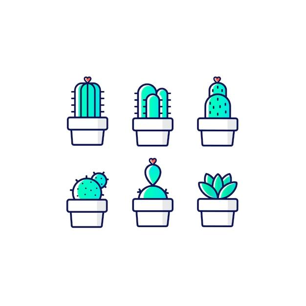 Neon cactus Free Vector