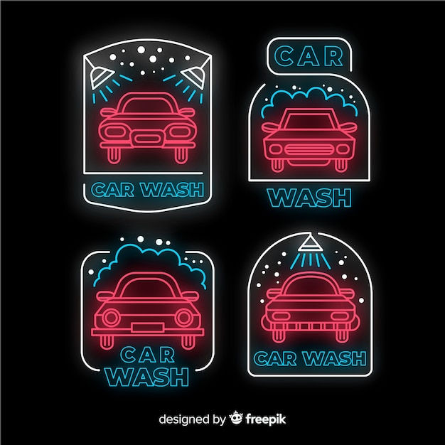 Neon car wash sign collection Premium Vector