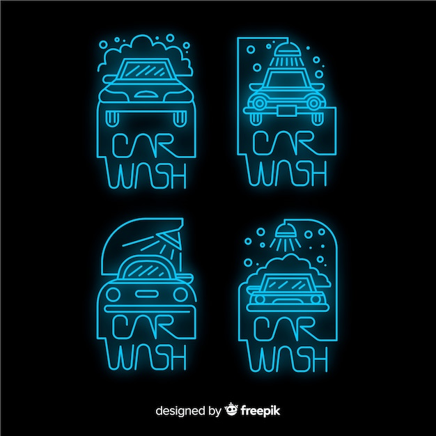 Neon car wash sign collection Free Vector