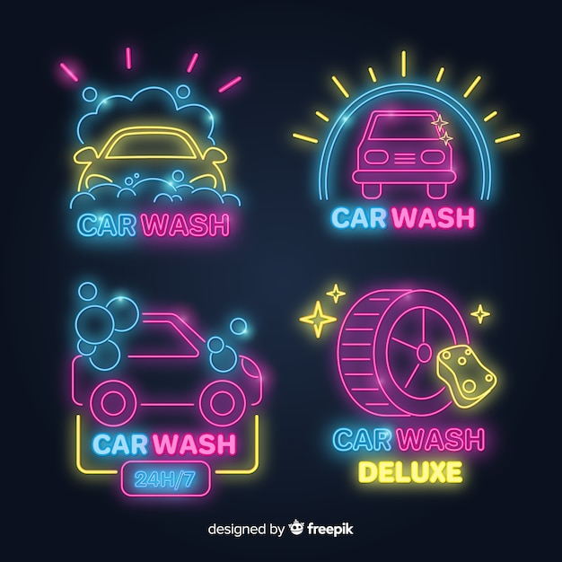 Neon car wash sign collection Premium Vector