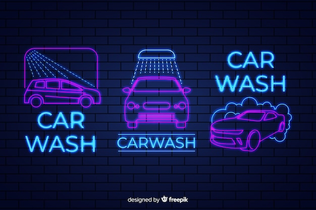 Neon car wash sign pack Premium Vector