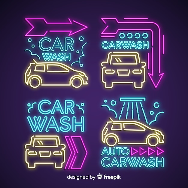 Neon car wash sign pack Free Vector