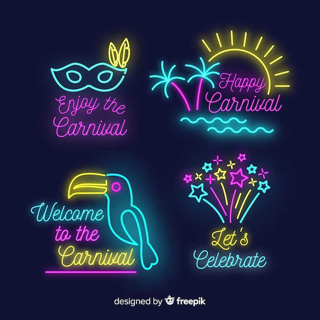 Neon carnival badge collection Free Vector