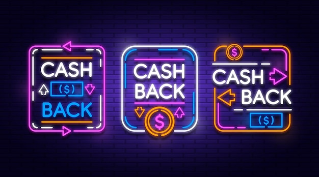 Neon cashback sign collection Free Vector