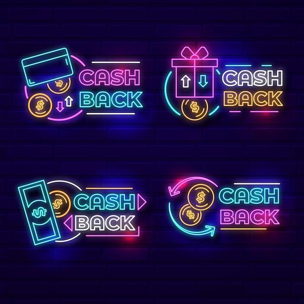 ネオンキャッシュバックサインコレクション Premiumベクター