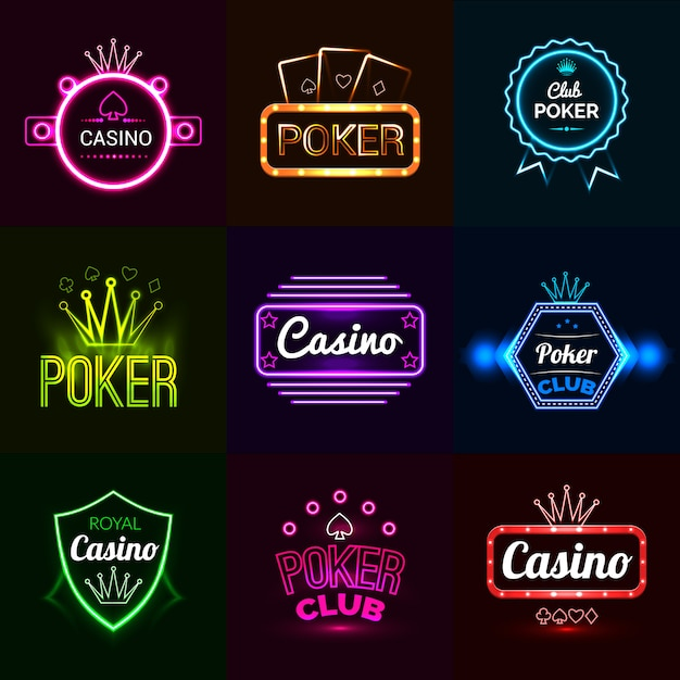 Neon casino emblems Free Vector