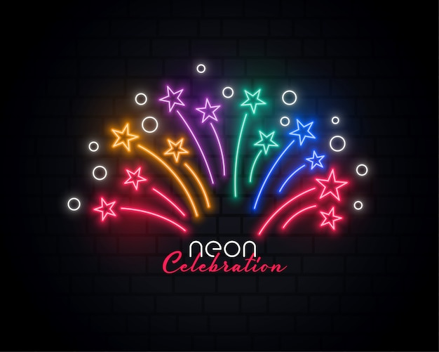 Neon celebration background Free Vector