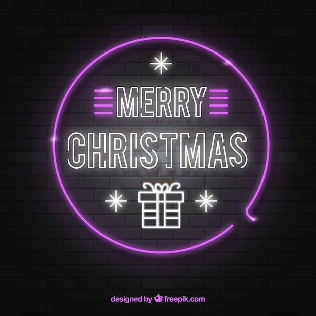 Neon christmas background in pink and white