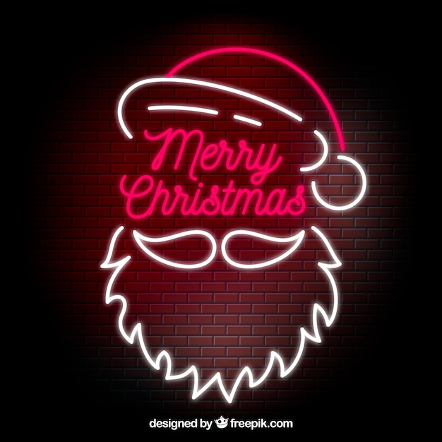 neon christmas background with santa claus 23 2147727212