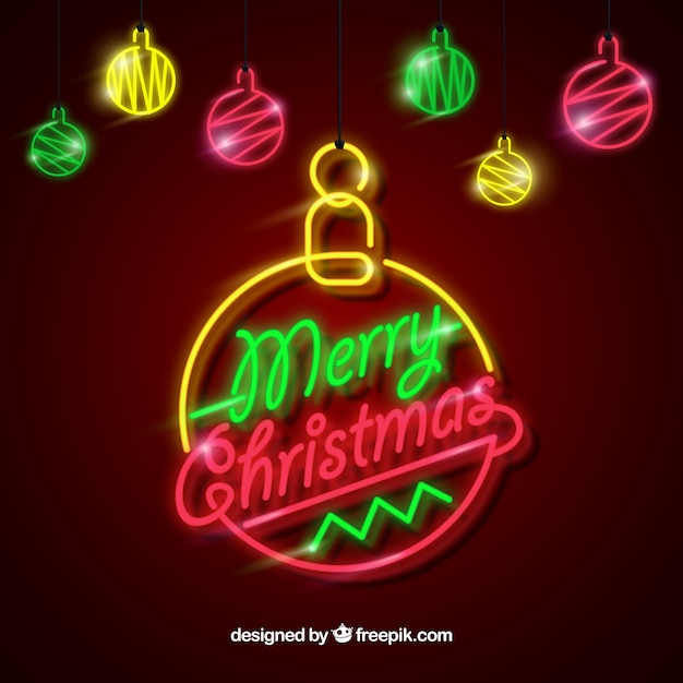 Neon christmas baubles Free Vector